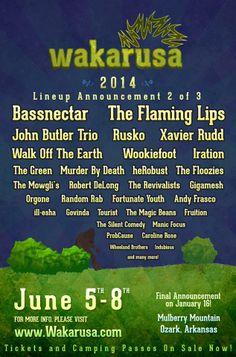Wakarusa Music Festival 2014 lineup part 2! | June 5-8 | Ozark, Arkansas