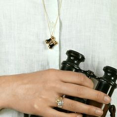 Gold plate & Black Rhodium Binoculars Necklace - Alex Monroe - Plant Hunter's Paradise