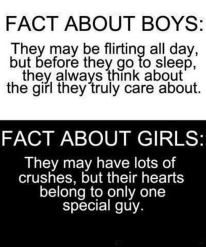 Fact about boys: They may be flirting all day, but before they go to sleep, they always think about the girl they truly care about....  Fact about girls: They may have lots of crushes, but their hearts belong to only one special guy...