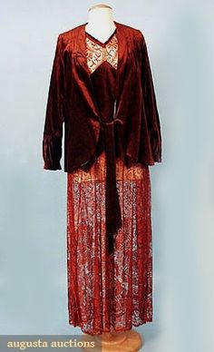 Augusta Auctions, May 2007 Vintage Clothing & Textile Auction, Lot 487: Rust Velvet  Lace Afternoon Ensemble, 1920s