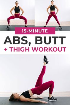 6 bodyweight exercises to tone your abs, butt and thighs at home! This no equipment 15-Minute workout is perfect for days you're short on time, but still want to get in a quick and effective workout! Thigh Toning Exercises, Toning Workouts, Fun Workouts, Thigh Workouts, Short Workouts, Workout Routines, 15 Minute Abs, 15 Minute Workout, Gym Workout Videos