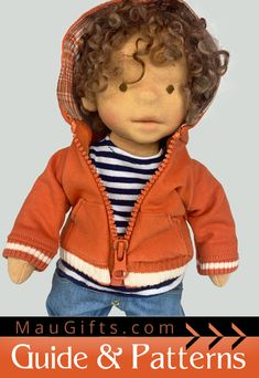 Sew a cute hoodie with pockets and zipper for your doll. Instructions are beginner-friendly, Step-by-Step with Patterns in PDF Perfect Image, Perfect Photo, Doll Clothes Patterns, Clothing Patterns, Love Photos, Cool Pictures, Hooded Sweatshirts, Hoodies, Cute Hoodie