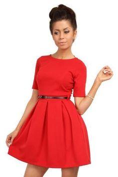 Modern Belted Short Sleeve Skater Dress