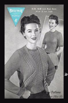 "1940's Bestway A2802 Knitting Pattern Jumper & Cardigan Rare 4ply B 36-40"" WWII #Bestway"