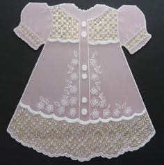 I really loved making this parchment dress. It is a lovely card for a new born baby girl.Again this card is mainly whitework with Gold ...