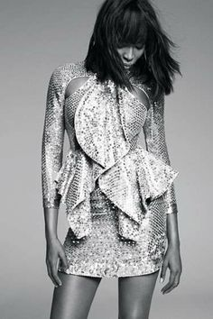 Decadently Metallic Fashion - Naomi Campbell Stars in an Editorial for Harpers Bazaar March 2012 (GALLERY)