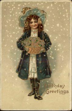 Brithday – Little Brunette Girl Blue Coat Flower Basket Gel Gilt Postcard