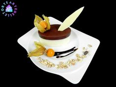 Chocolate pudding and cream with cereals and chocolate decoration white