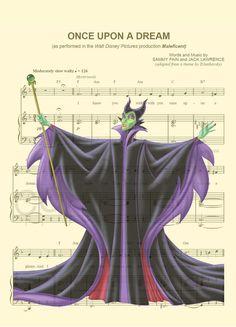 Maleficent Villain Sheet Music Art Print by AmourPrints on Etsy