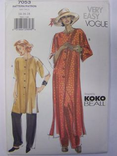 Misses' Loose Tunic & Pants Easy Vogue 7053 Sewing Pattern A-line Tunic with Side Slits, Elastic Waist Straight Leg Pants Size 8 – 12 UNCUT - Modern Tunic Sewing Patterns, Vogue Patterns, Vintage Sewing Patterns, Clothing Patterns, Dress Patterns, Pattern Sewing, Pants Pattern, Fun Patterns, Sewing Stitches