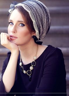 Romantic black head covering. Made of cotton and rich tulle, and decorated with a row of three flowers. Turban hats, TIchels, Fashion turbans, ready to wear turbans, head wraps, headband, head scarves.