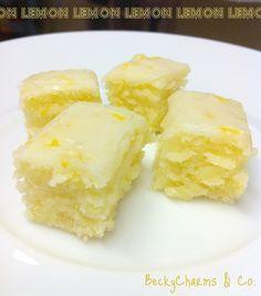 BeckyCharms & Co.: Lemony Lemonies Luscious Lemon Brownies -- I love lemon desserts! Next time I'll half the glaze ingredients. Lemon Desserts, Lemon Recipes, Top Recipes, Just Desserts, Sweet Recipes, Delicious Desserts, Dessert Recipes, Cooking Recipes, Yummy Food