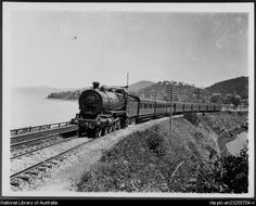 From National Library of Australia collection. Haydon, C. Gosford train at Hawkesbury River, Loco 3534 [picture] [between 1920 and 1926] 1 photograph : b ; 8.5 x 10.9 cm. Part of Buckland, John L 1915-1989. Buckland collection of railway transport photographs [picture]. [ca. 1930-1988] http://nla.gov.au/nla.pic-an23255704