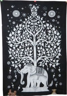 Hippie Indian Wall Decor Tapestry Black & White Tapestry Elephant Tapestry Throw #Handmade