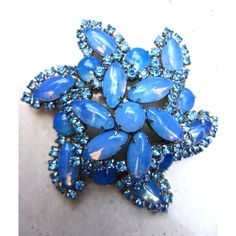 Blue Opalescent Rhinestone Brooch, 2 Tier Swirl, Vintage ($42) ❤ liked on Polyvore featuring jewelry, brooches, vintage jewellery, blue brooch, rhinestone broach, vintage rhinestone jewelry and vintage rhinestone brooch