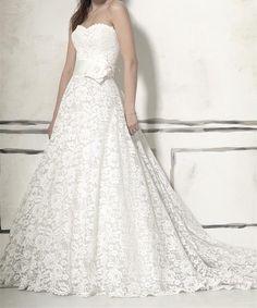 NEW Designer Inspired by Justin Alexander 8557 Strapless Vintage Lace A Line Chapel Handmade Flower Wedding Dress Size 2-22