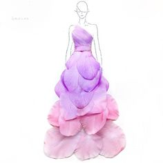 Flower Petals Put On Paper Skilfully Become Beautiful 3-D Dresses	 Flower Petals Put On Paper Skilfully Become Beautiful 3-D Dresses