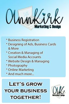 AnnKirk can help you with all of your Marketing and Design needs! Let's grow your business together! Growing Your Business, Business Design, Online Marketing, Social Media, Ads, Let It Be, Website, Check