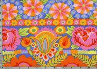 Kaffe Fassett Artisan Sunny Fabric: Embroidered Flower Power, Orange (per 1/4 metre)