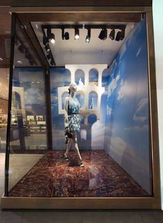 The Fendi window theme 'Traces of Palazzo della Civiltà Italiana' at the Geneva boutique