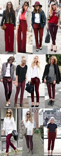 Take a look at the best what to wear with skinny khaki jeans in the photos below and get ideas for your outfits! If you're looking for a smart/casual way to wear Timberland boots, Vanessa Ciliberto is showing you the… Continue Reading → Khaki Jeans, Burgundy Jeans Outfit, Burgundy Leggings, Jeans Pants, Oxblood Pants, Maroon Pants Outfit, Outfit Pantalon Vino, Fall Winter Outfits, Autumn Winter Fashion