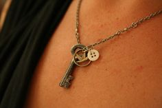Antique Charm Necklace  made with a small key and a by AngleAh, $21.00