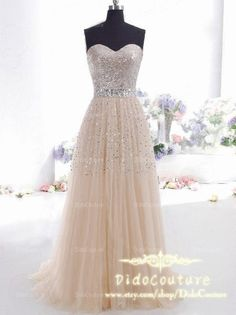 Custom Made Beaded Champagne Prom Dress,Sweetheart Sequin Lace Ball Gown,Strapless Prom Dress