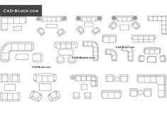 Couches and sofas in plan - free AutoCAD Blocks