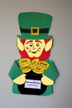St. Patrick's day craft.  Leprechaun Adjectives or another activity - cute leprechaun