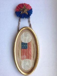 Antique Patriotic Confederate Civil War 7 Star Flag Scrap Christmas Ornament