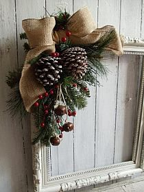 Primitive Shabby Antique Picture Frame Wreath Wall Door Mantel Holiday Display Unique Upcycled Hand Made Craft Vintage Decor Noel Christmas, Primitive Christmas, Country Christmas, Winter Christmas, Christmas Wreaths, Christmas Gifts, Christmas Ornaments, Antique Christmas, Primitive Wreath