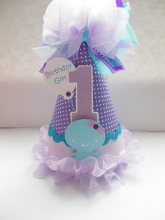 Items similar to Purple and Aqua Octopus-Whale Under the Sea Birthday Party Hat - Sea Animals - Personalized on Etsy 1 Year Old Birthday Party, Girl Birthday Themes, Birthday Party Hats, Baby First Birthday, First Birthday Parties, First Birthdays, Birthday Ideas, Little Mermaid Parties, Under The Sea Party