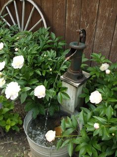 My water fountain, with an old hand pump and galvanized tub :)) LK - gardening/garden shed Garden Art, Garden Projects, Flower Pots, Water Features In The Garden, Lawn And Garden, Ponds Backyard, Garden Inspiration, Fountains Outdoor, Old Water Pumps