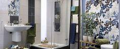 Znalezione obrazy dla zapytania tapeta z niebieskim motywem roslinnym w łazience