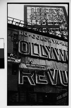 """Walker EVANS :: Workers Mounting Neon Sign for """"Hollywood Revue of 1929"""", Times Square, New York City, 1929"""