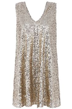 Description Soak up the sun, dance the nigh away in this sweet dress, featuring gold sequined throughout, V neckline, deep V back with a bowknot embellishment, oversized fit, fully lined. Looks perfect tossed over a twinkling high heels and a chic h