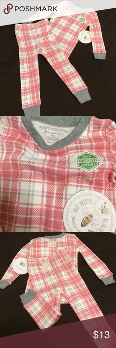 Burt's Bees Organic Cotton Pajamas NWT Amazingly soft & cozy 2 piece Burt's Bees pajama set. Brand new with tags. Size 18 months. The perfect pj set in a delightful plaid with logo patches on back of top & bottom on the backside. Burt's Bees Baby Pajamas Pajama Sets