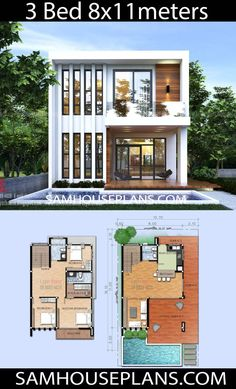 Holzhaus / Container House Plans Idea with 3 Bedrooms - Sam House Plans Read A Book; Modern House Floor Plans, Narrow House Plans, Sims House Plans, House Layout Plans, House Layouts, Small Contemporary House Plans, Sims 4 Modern House, 2 Storey House Design, Sims House Design