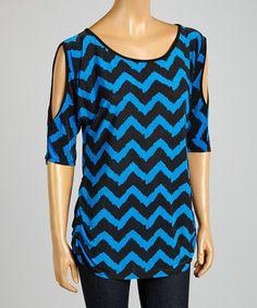Look what I found on #zulily! Royal Blue & Black Zigzag Cutout Tunic by ARIA FASHION USA #zulilyfinds