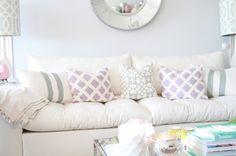 Lilac, aqua, white living room.