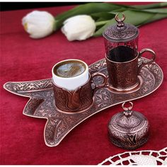 Coffee Set-Turkish Coffee Set - Rustic Housewares-Vintage Coffee Espresso Cups-Cups and Saucers-Tea Cups Vintage-Traditional Housewares Espresso Cups, Espresso Coffee, Coffee Cafe, Coffee Drinks, Turkish Coffee Set, Arabic Coffee, Turkish Tea, Chocolate Cafe, Oriental