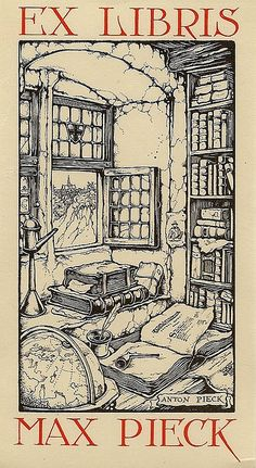 Ex Libris Max Pieck - by Anton Pieck http://www.flickr.com/photos/fray_bentos/2937958990/in/set-72157606830474277/lightbox/