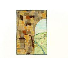 Textile Wall Art quilt embroidery Old Gate by BozenaWojtaszek, $130.00
