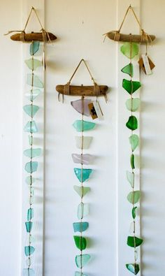 Fun Summer Beach Glass DIY Project - Long Sea Glass Wall Hanging / Mobile / Suncatcher / Rustic Decor / Beach Art by lucia Sea Glass Crafts, Sea Glass Art, Glass Wall Art, Sea Glass Beach, Stained Glass, Sea Glass Decor, Glass Walls, Water Glass, Fused Glass