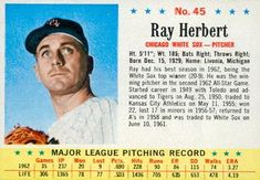 1963 Post Cereal #45 Ray Herbert | The Trading Card Database Game Start, Trading Card Database, Chicago White Sox, Cereal, Baseball Cards, Breakfast Cereal, Corn Flakes