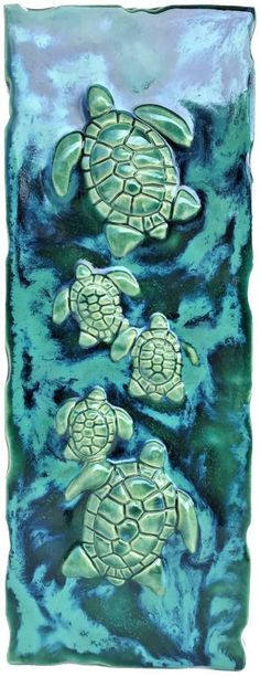 Hawaiian Sea Turtle, Hawaiian Designs, Handmade Kitchens, Ceramics, Wall Art, Artwork, Tile, Painting, Shower