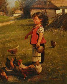 Журка Юрий - Дівчинка і кури (Девочка и куры)
