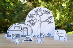Plantilla para recortar, pintar y hacer una escena de camping // Made by Joel » Paper City Camping Scene!