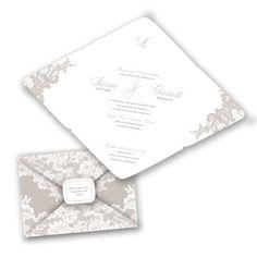 Lace Simplicity - Biscotti - Seal and Send Invitation