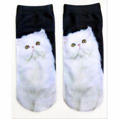 2017 New Arrival 3D Printed Low Cut Ped Socks 9 Colors Cute Kawaii Carton Cat Animal Funny Socks, Women